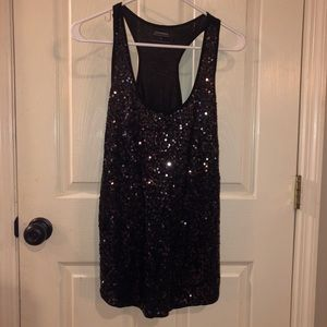 Express black tank with black sequins size medium
